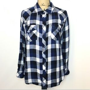Rails Blue White Gray Plaid Flannel Shirt